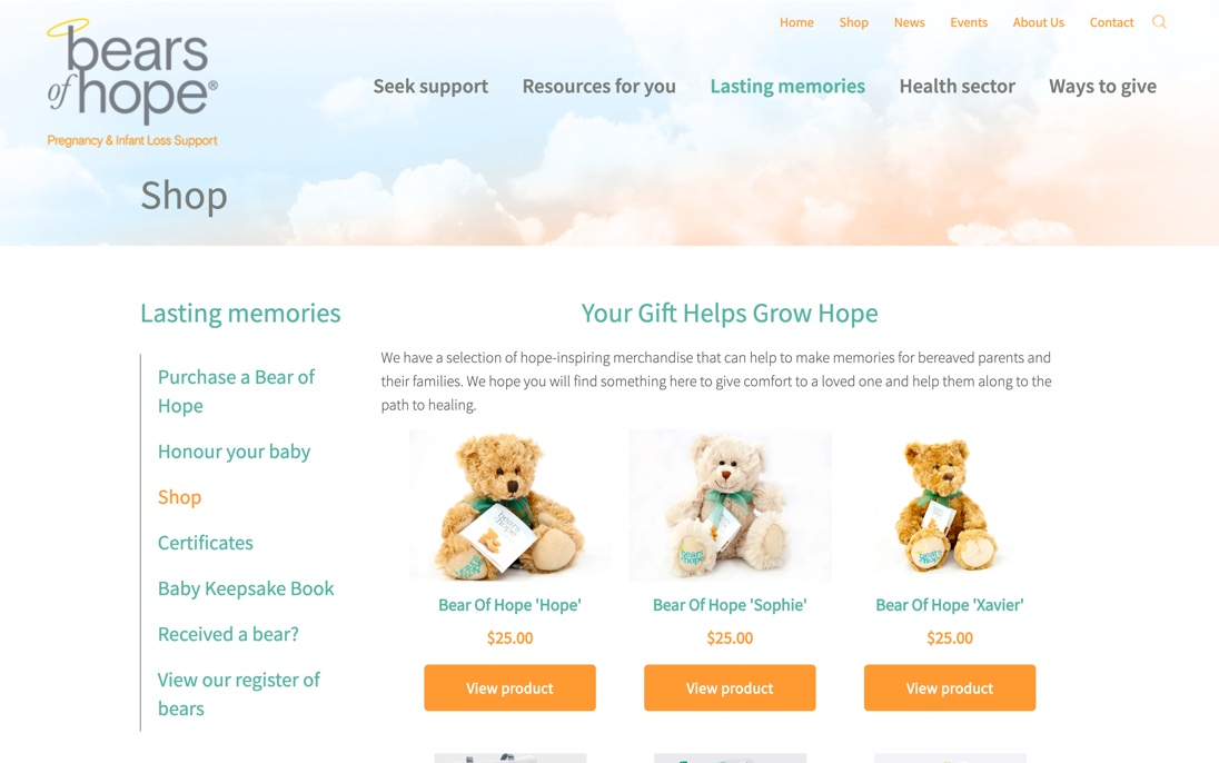 Bears of Hope - Desktop Web Design
