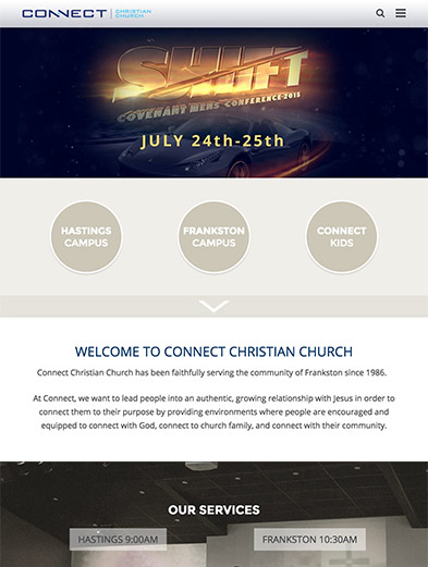 Connect Christian Church Tablet Web Design