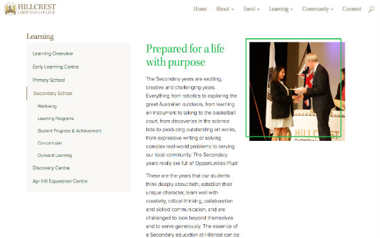 Hillcrest Christian College - Desktop Web Design